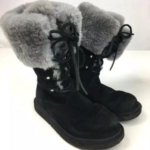 UGG Black Suede Leather Black Boots size 7